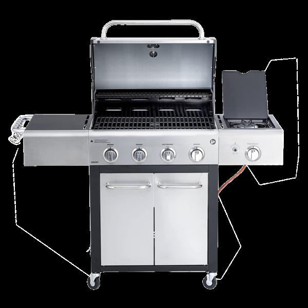 4-flammiger Gasgrill mit Seitenkocher