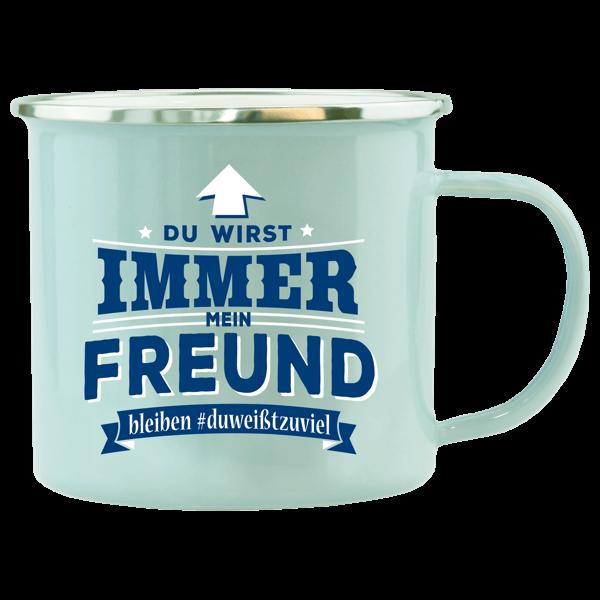 """Emaille Becher """"Freund"""""""
