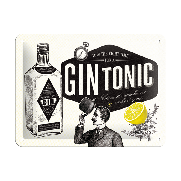 """Blechschild """"It is the right time for a Gin Tonic"""" (15 x 20 cm)"""