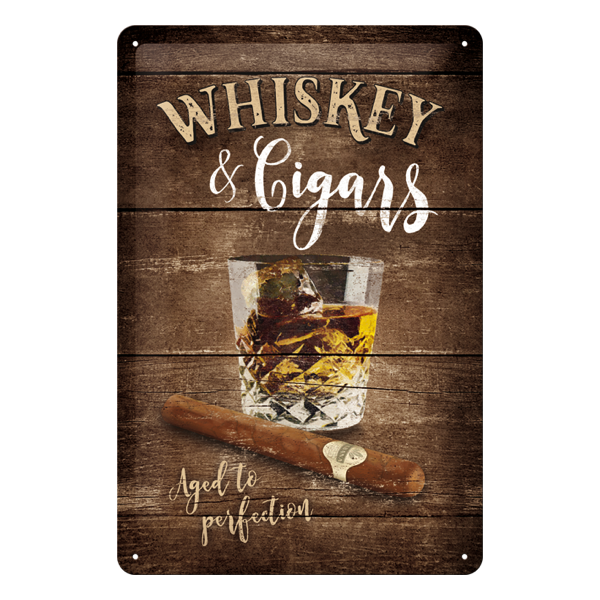 """Blechschild """"Whiskey & Cigars - Aged to perfection"""""""